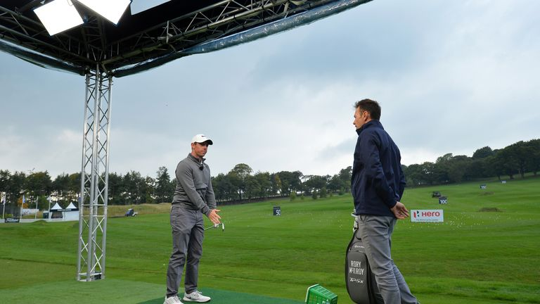 NEWCASTLE UPON TYNE, ENGLAND - SEPTEMBER 27: Rory McIlroy of Northern Ireland (L), talks with host Nick Dougherty at a live televised Sky Sports Master Cla