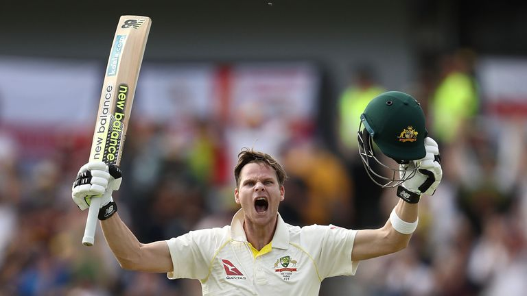 Steve Smith of Australia celebrates after reaching his double century during day three of the Third Test