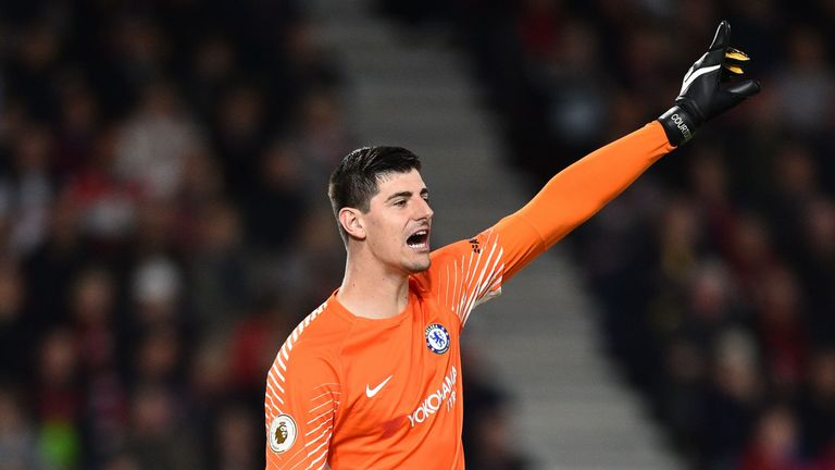 Chelsea's Belgian goalkeeper Thibaut Courtois gestures during the English Premier League football match between Bournemouth and Chelsea at the Vitality Sta