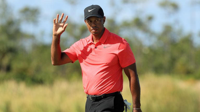 NASSAU, BAHAMAS - DECEMBER 03:  Tiger Woods of the United States reacts on the fourth green during the final round of the Hero World Challenge at Albany, B