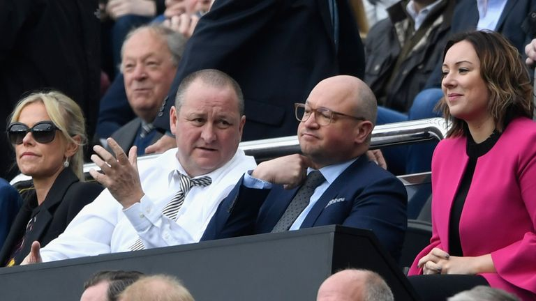 Newcastle owner Mike Ashley with managing director Lee Charnley