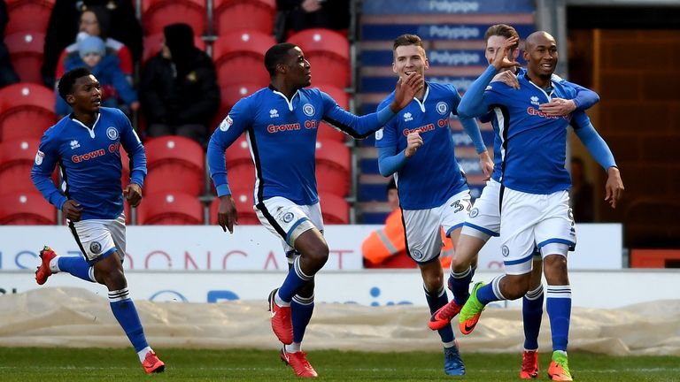 Calvin Andrew celebrates his winner against Doncaster