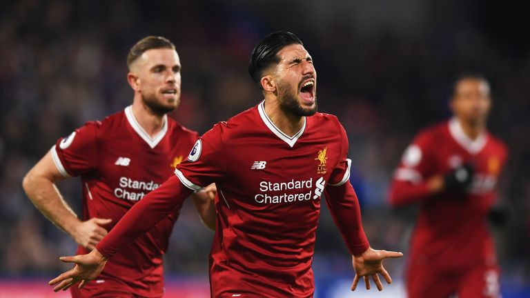 Emre Can celebrates after he scores for Liverpool's opening goal against Huddersfield