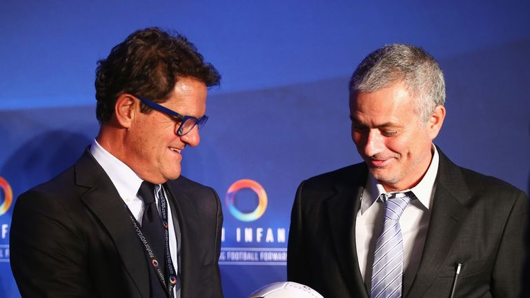 Fabio Capello pictured with Jose Mourinho at Gianni Infantino's inauguration as FIFA president