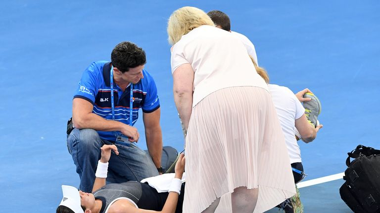 Garbine Muguruza suffered muscle cramps during her match
