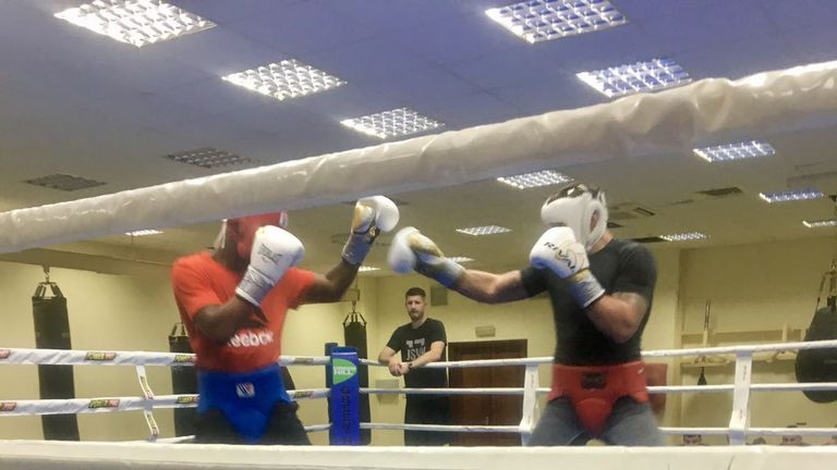 Usyk and Chamberlain sparred for the second camp