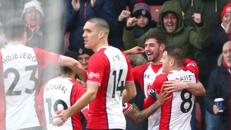 Jack Stephens celebrates after scoring Southampton's opening goal against Watford in the FA Cup