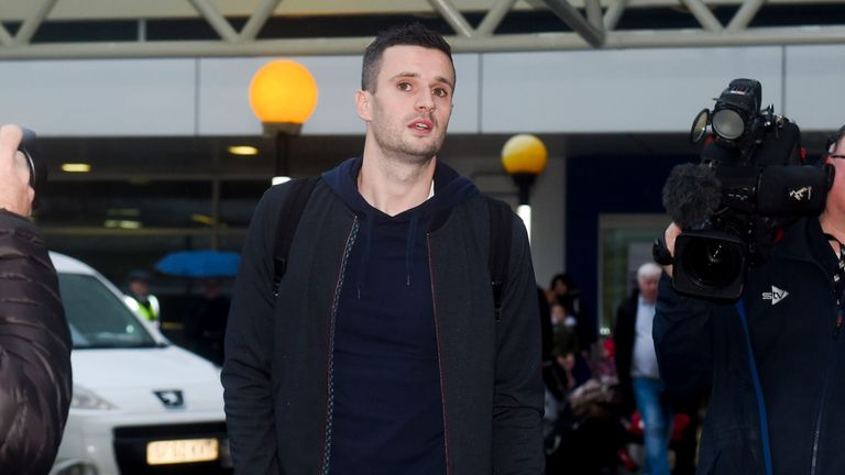 Rangers target Jamie Murphy arrives at Glasgow Airport for his medical on Saturday
