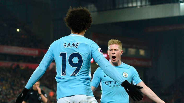 Manchester City Forward Leroy Sane Chats Pep Guardiola