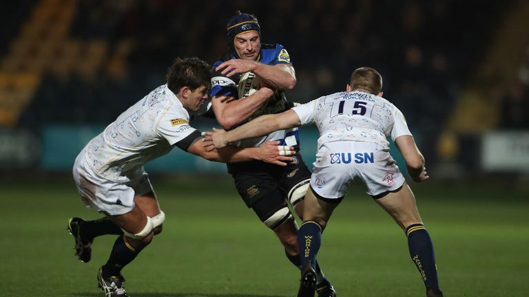 Paul Grant scored the Bath's first try of the match at Sixways