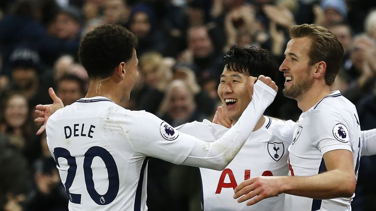Heung-Min Son celebrates with Dele Alli and Harry Kane after scoring