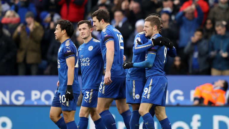 Jamie Vardy celebrates after converting his penalty to make it 1-0 at the King Power Stadium