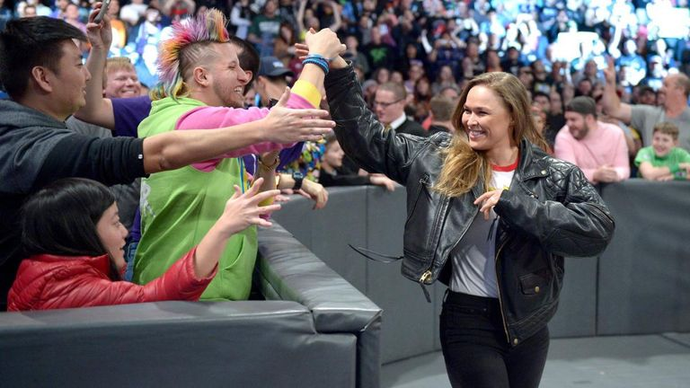Rousey's WWE appearances at WrestleMania and Royal Rumble have been as a face