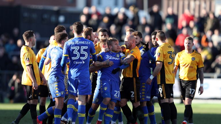 Tempers flared as Leeds were knocked out of the FA Cup by Newport last month