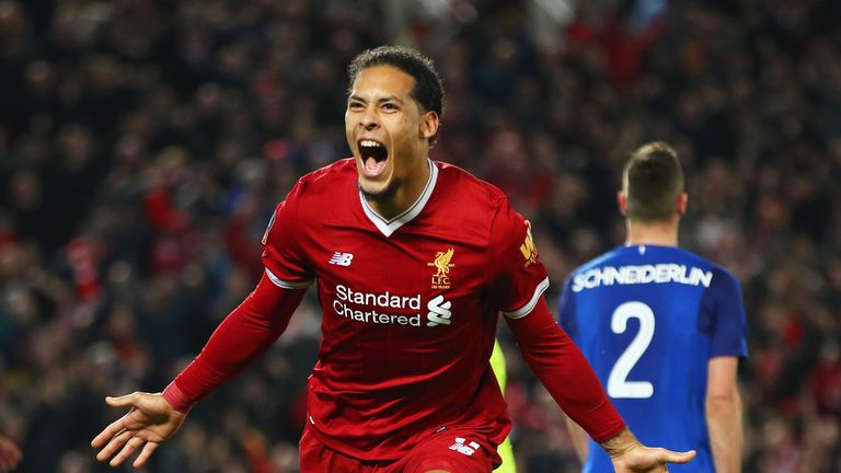 Van Dijk scored on his Liverpool debut in the FA Cup win over Everton
