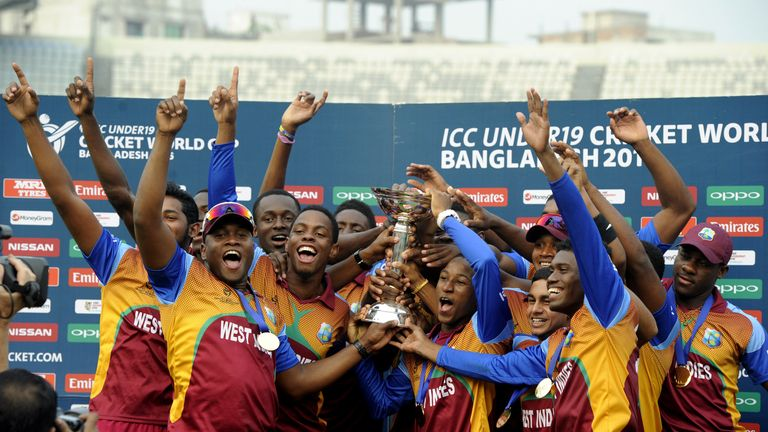 Windies celebrate their maiden title in Bangladesh in 2016