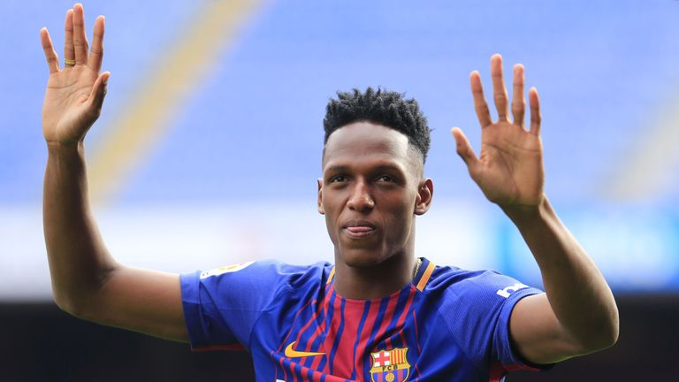 Yerry Mina has been unveiled as a Barcelona player