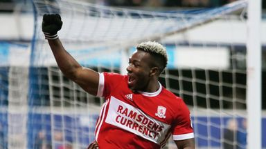 Adama Traore celebrates scoring his side's third goal during the Sky Bet Championship match between QPR and Middlesbrough