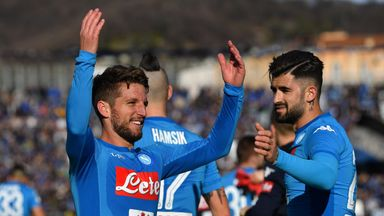 Dries Mertens celebrates his winning goal for Napoli against Atalanta