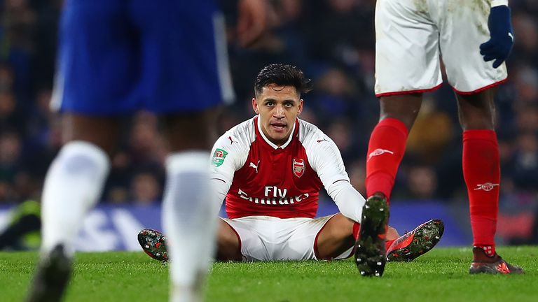 Alexis Sanchez during the Carabao Cup Semi-Final First Leg match between Chelsea and Arsenal at Stamford Bridge