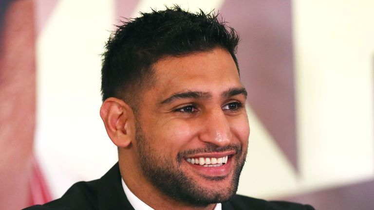 Amir Khan speaks to the media during his press conference at the Dorchester Hotel on January 10, 2018