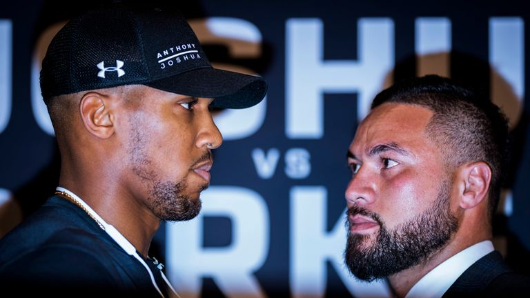 Anthony Joshua and Joseph Parker face off during a press conference at the Dorchester Hotel