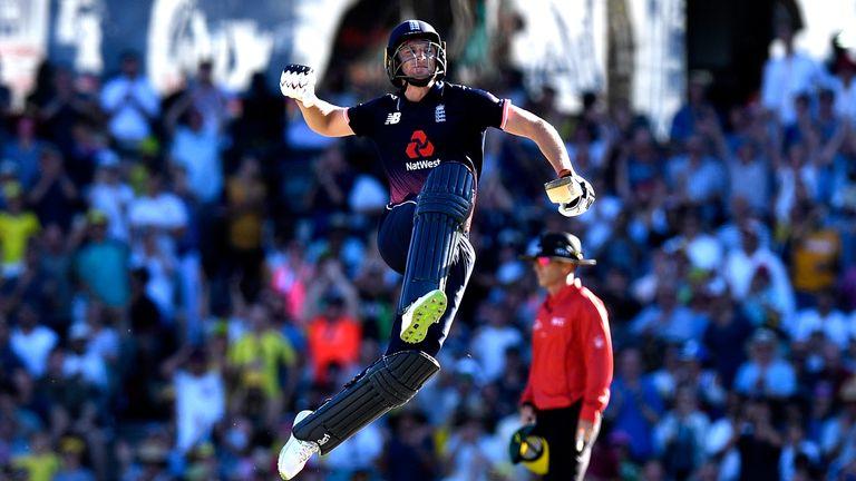 Jos Buttler celebrates scoring his first ODI century against Australia