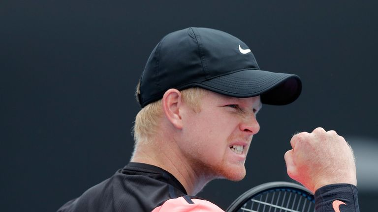 MELBOURNE, AUSTRALIA - JANUARY 15:  Kyle Edmund of Great Britain celebrates winning a point in his first round match against Kevin Anderson of South Africa