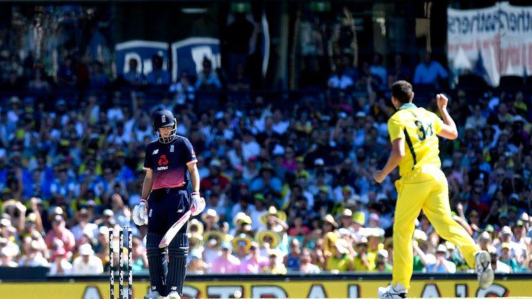 SYDNEY, AUSTRALIA - JANUARY 21:  Josh Hazlewood of Australia celebrates taking the wicket of Joe Root of England during game three of the One Day Internati
