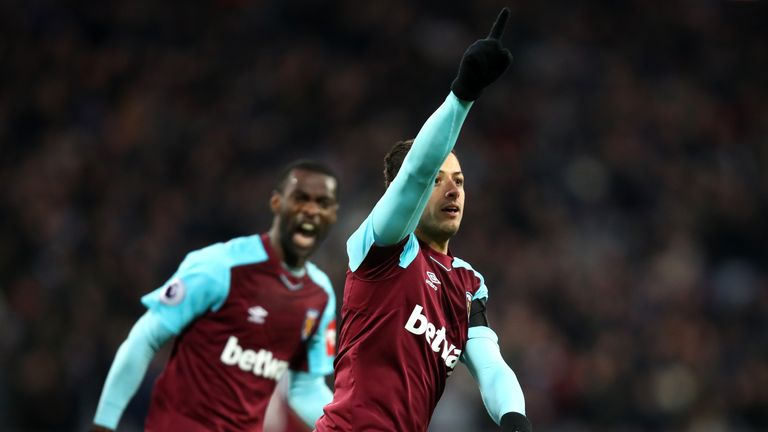 LONDON, ENGLAND - JANUARY 20:  Javier Hernandez of West Ham United celebrates after scoring his sids first goal during the Premier League match between Wes