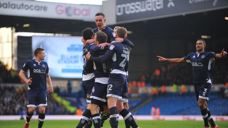 Shaun Williams of Millwall celebrates with his team-mates after he scores the first goal but it is disallowed during the Sky Bet Championship clash v Leeds