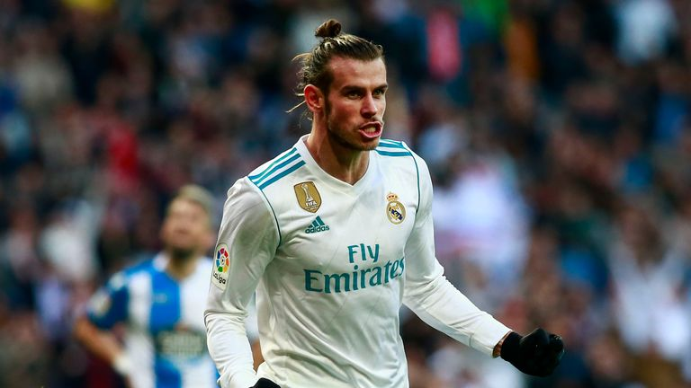 MADRID, SPAIN - JANUARY 21: Gareth Bale of Real Madrid CF celebrates scoring their third goal during the La Liga match between Real Madrid CF and Deportivo