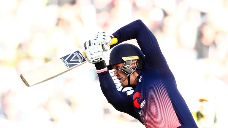 MELBOURNE, AUSTRALIA - JANUARY 14:  Jason Roy of England bats during game one of the One Day International Series between Australia and England at Melbourn