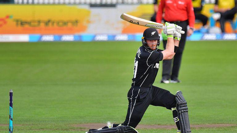 New Zealand's Martin Guptill plays a shot during the second one day international cricket match between New Zealand and Pakistan at Saxton Oval in Nelson o