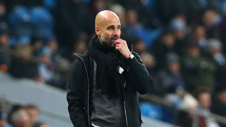 Pep Guardiola during the Carabao Cup Semi-Final First Leg between Manchester City and Bristol City