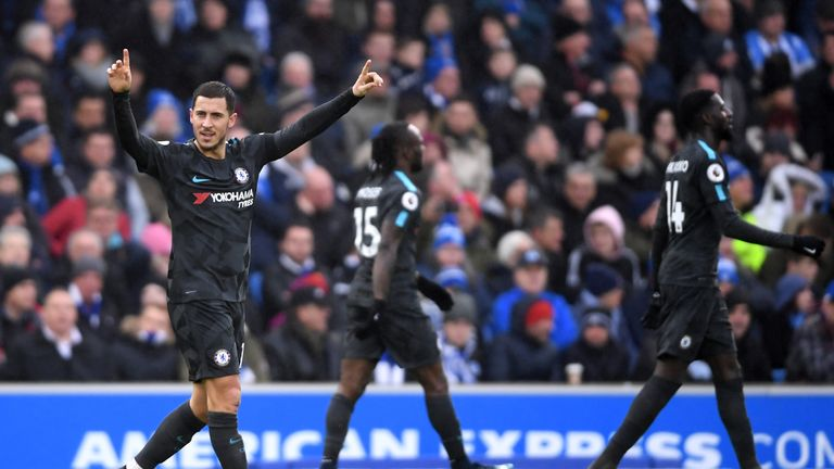 Eden Hazard celebrates his second and Chelsea's third goal of the game