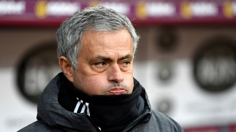 Jose Mourinho during the Premier League match between Burnley and Manchester United