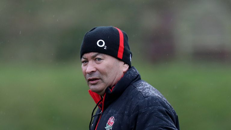 England Coach Eddie Jones during a training session at Brighton College