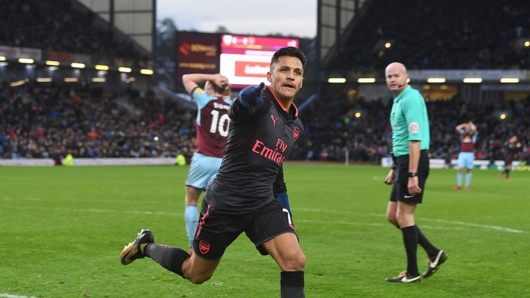 Alexis Sanchez's goal gave Arsenal a 1-0 win over Burnley in November last year