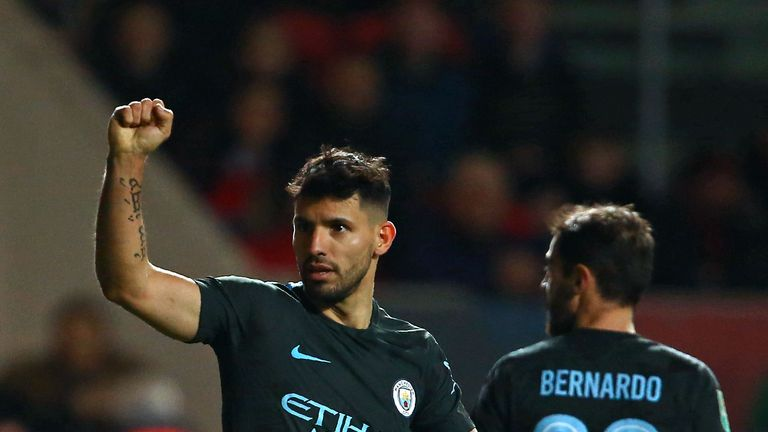 Manchester City's Sergio Aguero celebrates after scoring their second goal during the Carabao Cup semi-final, second leg match v Bristol City