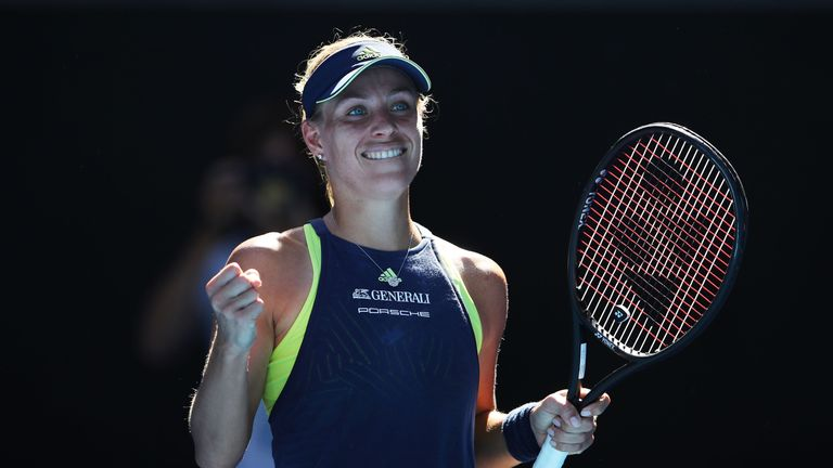 Angelique Kerber of Germany celebrates winning a point in her second round match against Donna Vekic of Croatia