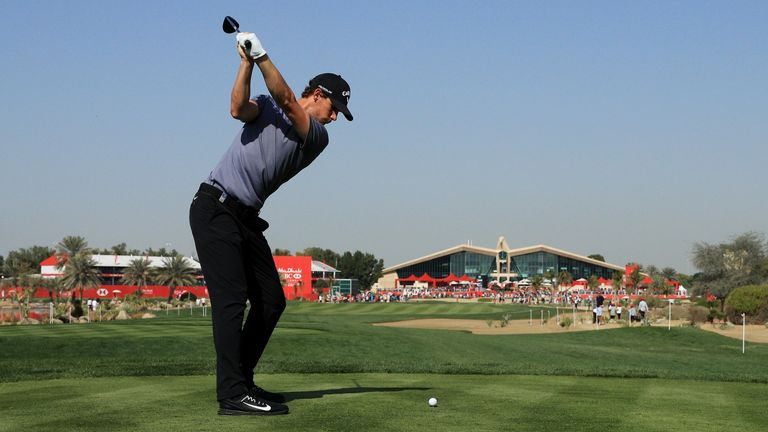 Thomas Pieters of Belgium plays his shot from the ninth tee during round three of the Abu Dhabi HSBC Golf Championship