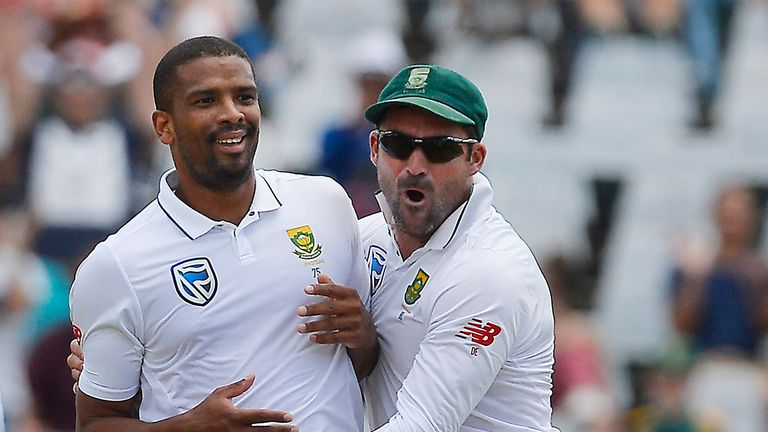 CAPE TOWN, SOUTH AFRICA - JANUARY 08: Vernon Philander and Dean Elgar of South Africa celebrates after taking the wicket of Murali Vijay of India during da