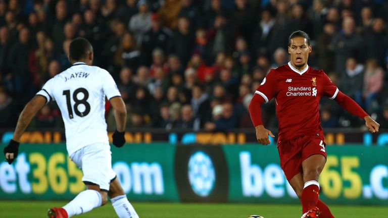 Liverpool defender Virgil van Dijk passes the ball during the English Premier League football match against Swansea City