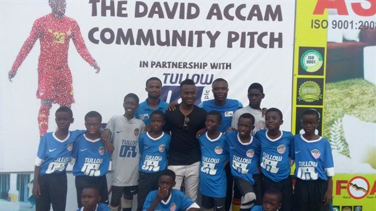 Accam launching his community pitch in Kumasi in Ghana [Credit: Right to Dream]