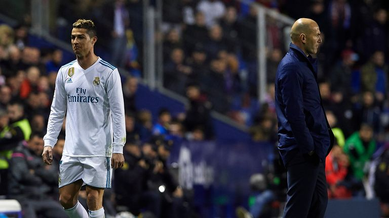 Ronaldo was visibly unhappy at being substituted by boss Zinedine Zidane