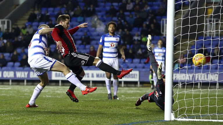 Billy Sharp scores past Vito Mannone