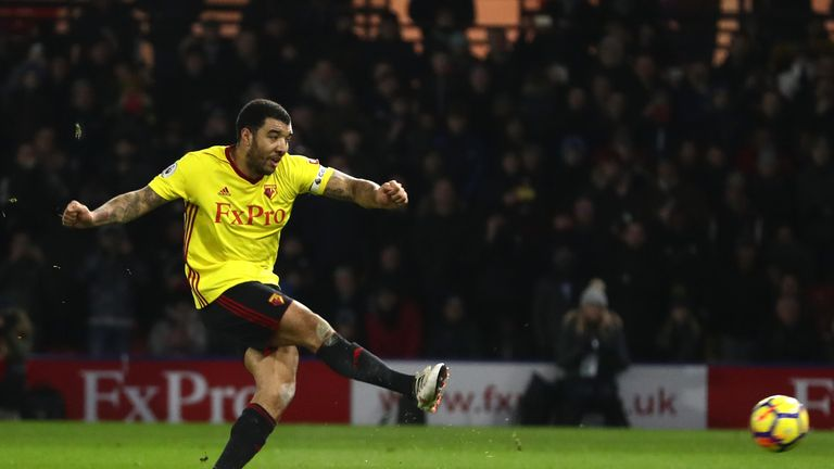 Troy Deeney rifles Watford into the lead from the spot against Chelsea
