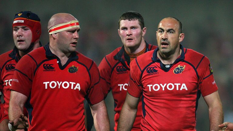 Ryan (back right) broke into a Munster side led by the late Anthony Foley (back left)