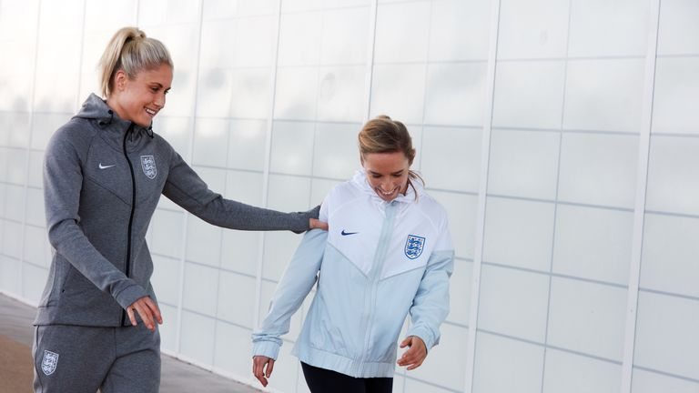 Steph Houghton and Jordan Nobbs in some of the new 2018 England training kit
